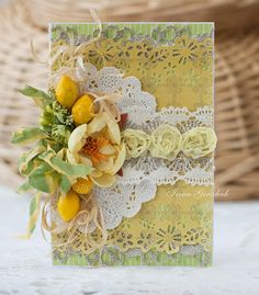 white and yellow themed handmade card