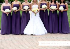 Photography by Samantha McGranahan, The Roxy Studio. Wedding photography, purple and yellow wedding, purple bridesmaid dresses, yellow and white bouquets, bridesmaid bouquets, bridesmaid poses