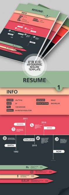 Infographic Style Free Resume Template #infographic #resume #template #cvdesign #jobresume