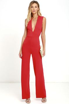 e3f337474a Thinking Out Loud Red Backless Jumpsuit