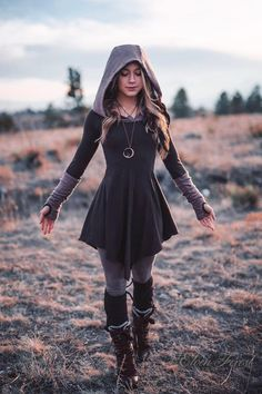 Sweater Warmer Dress ~ Structured Hood with arm warmers and .- Sweater Warmer Dress ~ Structured Hood with arm warmers and thumbholes ~ Elven Forest ~ Winter Dress - Mode Outfits, Fall Outfits, Fashion Outfits, Mode Hippie, Hippie Goth, Warm Dresses, Cool Dresses, Winter Dresses For Girls, Ladies Dresses