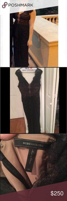 """BCBG Maxazria Size 6 Gown (worn once) This gown was perfect for the black tie wedding I attended and got so many compliments. I got the dress hemmed one inch. I am 5'3"""" and the length was perfect with 2 inch heels. It is a chiffon material and the bottom, with lace at the top that comes into a nice v-cut. I have tried and tried to find the dress online, but I can't! I purchased it from Bloomingdales in NYC in April 2016. BCBGMaxAzria Dresses Maxi"""