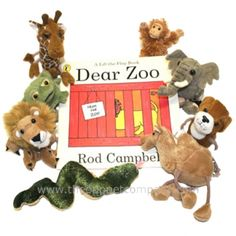 Dear Zoo Animals Storytelling Set of 8 Finger Puppets Dear Zoo Party, Dear Zoo Book, Dear Zoo Activities, Story Sack, Preschool Books, Finger Puppets, Zoo Animals, 2nd Birthday, Birthday Ideas