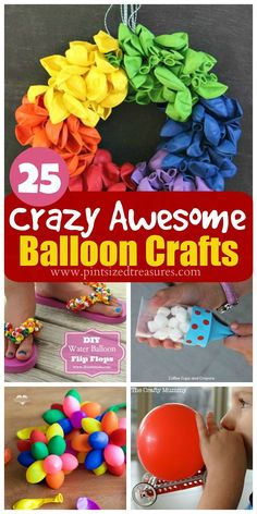 The craziest, most awesome balloon crafts on the planet! Pint-sized Treasures The craziest, most awesome balloon crafts on the planet! Craft Activities For Kids, Crafts For Teens, Diy For Kids, Crafts To Make, Easy Crafts, Arts And Crafts, Kids Crafts, Balloon Flip Flops, Dollar Store Crafts