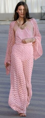 pink crochet outfit.