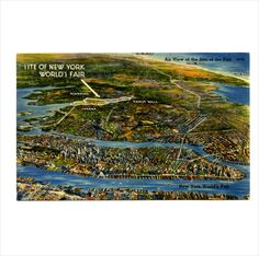USA - Air View of the Site of the 1939 New York NY World's Fair Linen Postcard on eBid United States