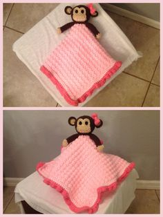 Monkey Lovey Security Blanket. 18x18 inches. Pattern by Janet Carrillo from 'Damn it Janet, Let's Crochet'. For ordering contact briana.kepner@gmail.com