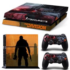 FREE SHIPPING! PS4 Tom Clancy's : The Division Decal Stickers For Sony Playstation 4 Console  2 dualshock controllers