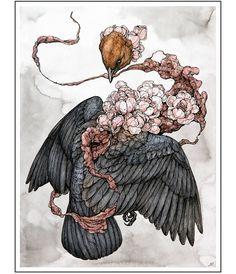 """215 Likes, 2 Comments - Antler Gallery (@antlerpdx) on Instagram: """"Lauren Marx ( @laurenmarxart ) // """"Peach Blossom"""" // Ballpoint Pen, Watercolor, Ink, Marker,…"""""""