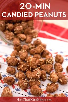 Can't-Stop Candied Peanuts - 20 Mins Recipe Gluten Free Pastry, Gluten Free Baking, Snack Recipes, Dessert Recipes, Thai Recipes, Asian Recipes, Appetizer Recipes, Baking Recipes, Chocolate Malt