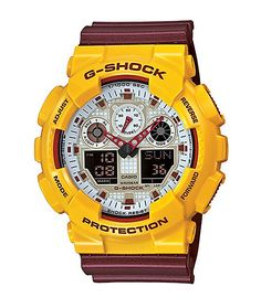 Blast your outfits with a colorful burgundy and yellow design with a shock, magnetic, and 200 meter water resistance to keep your timepiece ticking longer.