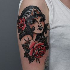 7de3c5e9dbf65 A gorgeous lady head surrounded by plush roses by Tony Nilsson (IG— tonybluearms).