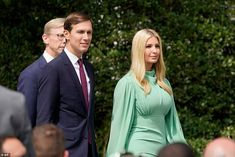 Jared Kushner and Ivanka Trump arrive on the South Lawn for the signing ceremony