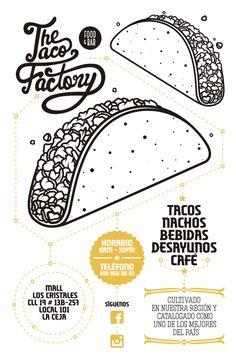 The Taco Factory Flyers by Pablo Ramos, via Behance Id Design, Menu Design, Flyer Design, Branding Design, Logo Design, Taco Factory, Tacos Menu, Taco Pictures, Type Illustration