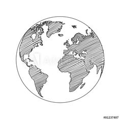 World map globe sketch vector
