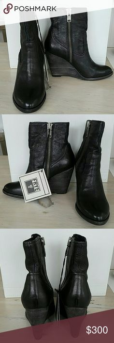 FRYE BLACK CECE ARTISAN SHORT BOOTS SZ 8 NWT FRYE   BLACK CECE ARTISAN SHORT BOOTS  Interior ankle zipper  Black learher  Wooden wedge heel  Size 8   New with tags Frye Shoes Ankle Boots & Booties