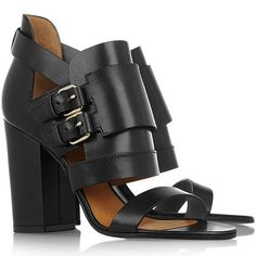 The Uncharacteristically Golden, Glittery and Girly Buckled Chunky Heel Sandals from Givenchy