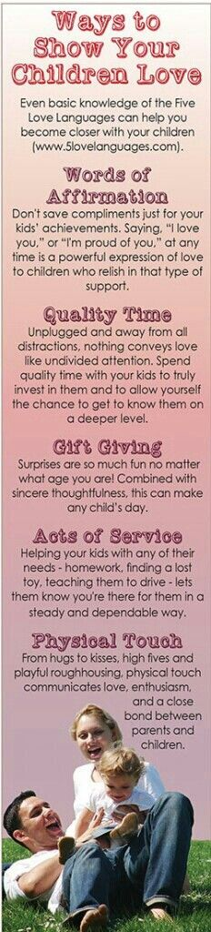Love the love languages! For kids and adults... I can honestly say I show my children these various love languages daily