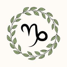 Hand drawing flat capricorn symbol in rustic floral wreath Capricorn Logo, Capricorn Constellation Tattoo, Taurus Symbols, Aries Art, Capricorn Quotes, Leo Symbol, Inspirational Wall Quotes, Symbol Drawing, Silver Ring Designs