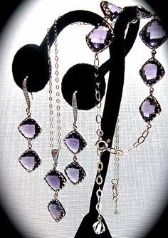 Amethyst  Necklace  Bracelet  Earrings  3 by QueenMeJewelryLLC, $87.99