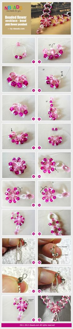 beaded flower necklace - bead pink flower pendant
