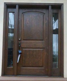 8' alto Knotty Aliso frente con puerta de entrada (2) SIDELIGHTS (Toscana Estilo)