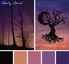 Use the simple but eerie effect of sunset and shadows on your next project with this Spooky Sunset color inspiration.
