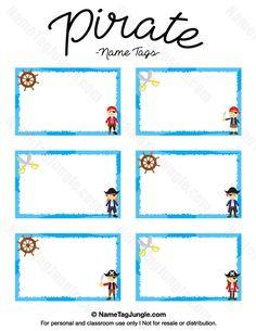 Printable Pirate Name Tags Pirate Day, Pirate Theme, Pirate Birthday, Pirate Names, Pirate Signs, Twin Birthday Themes, Kids Dinosaur Costume, Pirate Preschool, Teach Like A Pirate