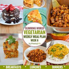 Slimming Slimming Eats Vegetarian Weekly Meal Plan - Week 6 - Slimming World - taking the work out of planning so that you can cook and enjoy the food - Slimming Eats, Slimming World Recipes, Vegetarian Weekly Meal Plan, Vegetarian Italian, Tofu, Crockpot, Homemade Trail Mix, Curry, Paleo