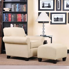 Portfolio Mira Sand Stripe Transitional Arm Chair and Ottoman | Overstock™ Shopping - Great Deals on PORTFOLIO Living Room Chairs