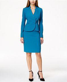 Tahari ASL Asymmetrical-Front Skirt Suit - All Suits & Suit Separates - Women - Macy's