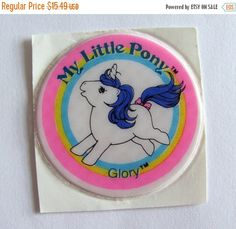 ON SALE Very Rare Vintage My Little Pony Puffy Sticker - Glory 80's Childrens Collectable MLP G1 1980's