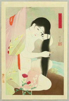 Narita Morikane - Combing Hait - Twenty-Four Examples of Charming Figures Japanese Drawings, Japanese Artwork, Japanese Painting, Japanese Prints, Japanese Illustration, Illustration Art, Geisha Art, Traditional Japanese Art, Japan Art