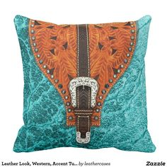 Leather Look, Western, Accent Turq/Orange Outdoor Pillow