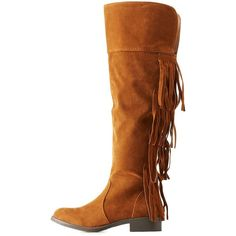 Charlotte Russe Rust Adriana New York Fringe Knee High Boots by... ($49) ❤ liked on Polyvore featuring shoes, boots, rust, faux suede fringe boots, knee-high fringe boots, zip boots, charlotte russe boots and knee high boots