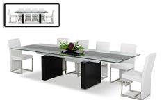 The Lisbon extendable table features a unique 2 leaf extension that lifts from each side.  The dark wenge coloring of the base makes it an easy addition to any contemporary dining room. Bent polished stainless steel framed chairs are elegantly padded on seat and back with a stylish silver and black brocade pattern.