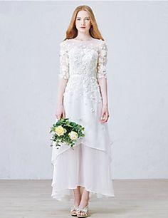 Hochzeitskleid - Chiffon - A-Linie - Knöchellänge - Juwel-Ausschnitt