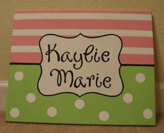 Baby/Kid Name Canvas by CraftyAnchors on Etsy, $35.00