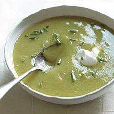 Potato-Leek Soup -- Don't be fooled by the green color, this is just a healthy version of the crowd-pleasing potato soup!