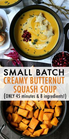 Creamy Butternut Squash Soup w/  Broiled Fontina Toasts |  Comforting, cozy, & delicious, this Creamy Butternut Squash Soup w/ Broiled Fontina Toasts takes just 8 ingredients + 45 minutes and is portioned for two! #comfortfood #soup #smallbatchsoup #dinnerfortwo #butternutsquash #souprecipes #healthyrecipes #easyrecipes #quickdinners