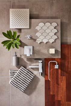 Create a sleek, modern bathroom with the distinct, geometric style of the Mondella Rococo collection. Mood Board Interior, Material Board, Bathroom Collections, Interior Decorating, Interior Design, Home Trends, Small Bathroom, Bathroom Inspo, Bathroom Updates