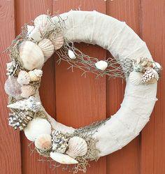 Coastal Sea Shell Wreath. Tutorial on how to make an interchangeable sea shell wreath for the summer.