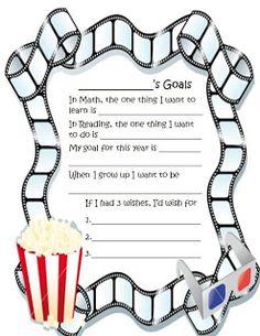 Fun Fourth Grade Collaboration Classroom: Hollywood Back to School goal setting