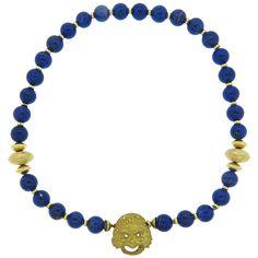 Unusual Lapis Lazuli Diamond Gold Bead Necklace