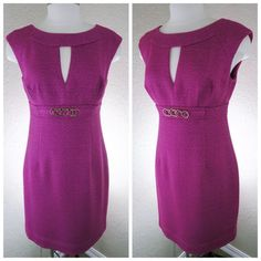 TRINA TURK Pink Woven Sheath Dress size 10 TRINA TURK Woven Sheath Dress with golden chain detail  Absolutely beautiful dress that is sure to turn heads! This fitted sheath dress is new with tags.  Size 10 Wedding band neckline with a keyhole cutout Darts at the waist and hips for a feminine, fitted shape Chain belt detail Back zipper Slit at back to allow movement Fully lined Elegant lace inside hem adds a pretty touch Trina Turk Dresses Midi