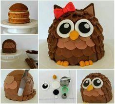Owl cake (tutorial) - A very Howlett birthday owl! Food Cakes, Fruit Cakes, Fancy Cakes, Cute Cakes, Fondant Cakes, Cupcake Cakes, Owl Cupcakes, Cake Fondant, Fondant Figures