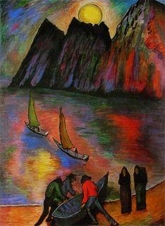 Marianne Von Werefkin, The Big Moon, 1923 on ArtStack #marianne-von-werefkin #art