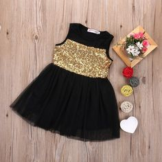 Gold Sequin Tulle Princess Party Dress from kidspetite.com! Adorable & affordable baby, toddler & kids clothing. Shop from one of the best providers of children apparel at Kids Petite. FREE Worldwide Shipping to over 230+ countries ✈️ www.kidspetite.com #dresses #clothing #girl #toddler