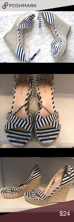 Nine West nautical wedges Blue and white striped wedges. Nine West Shoes Wedges