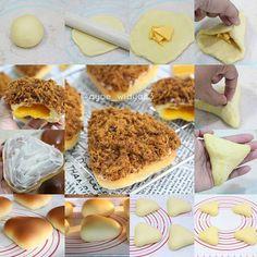 Cheesy Floss Bun ( 🔺 shape) . Bread Maker Recipes, My Recipes, Cake Recipes, Dessert Recipes, Desserts, Resep Cake, Bread Shaping, Bread Bun, Bread And Pastries
